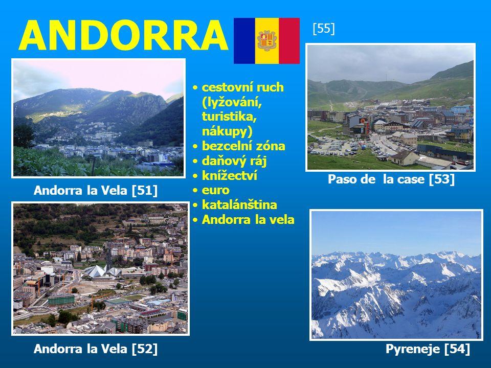 ANDORRA [55] cestovní ruch (lyžování, turistika, nákupy) bezcelní zóna